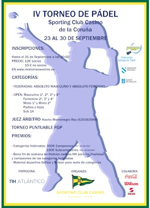 IV Open de Padel Sporting Club Casino Coruña: Cartel